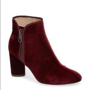 Louise et Cie Red Velvet Side Zip Ankle Boots NWT